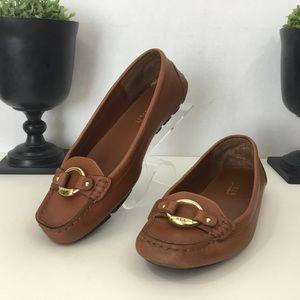 Ralph Lauren Cadance Brown Leather Flats, 7B